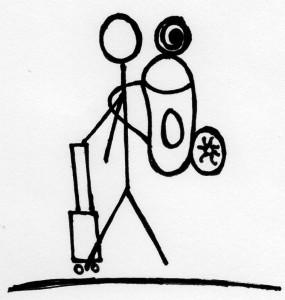 Ein großer Rucksack und ein kleiner Koffer